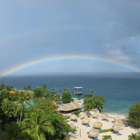 The rainbow from our balcony sums up our stay at the Hilton Curacao!