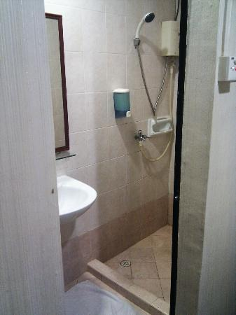 : separate shower - good for a cheap Singapore hotel