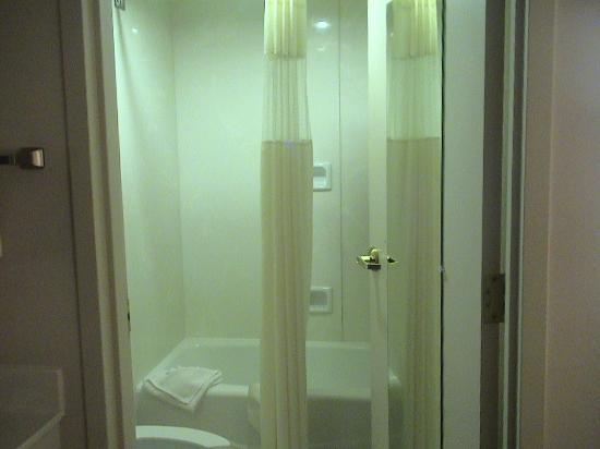 Ashmore Inn & Suites: Looking into shower/tub area