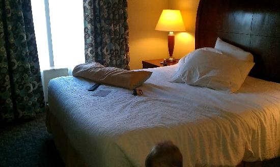 Hilton Garden Inn Evansville: king bed in sleeping area