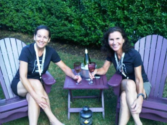 Three Tree Inn: Lori and Lynn enjoying a celebratory bottle of Sancerre in the front yard