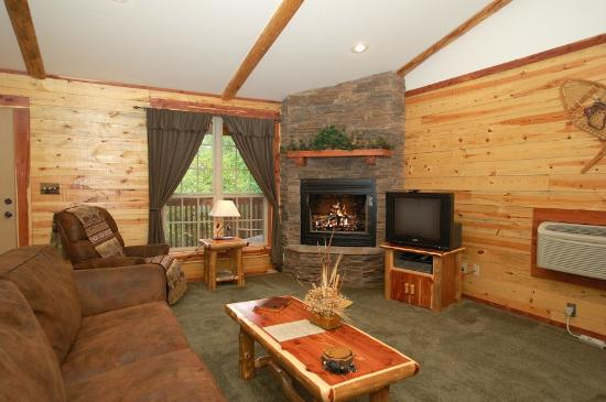 Lake Forest Luxury Log Cabins: Fireplace