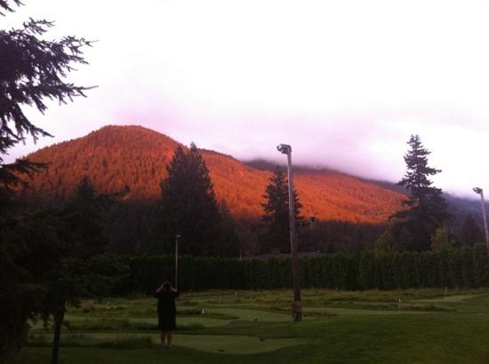 The Resort at The Mountain: sunset hits the mountain overlooking the 18-hole mini-putt course