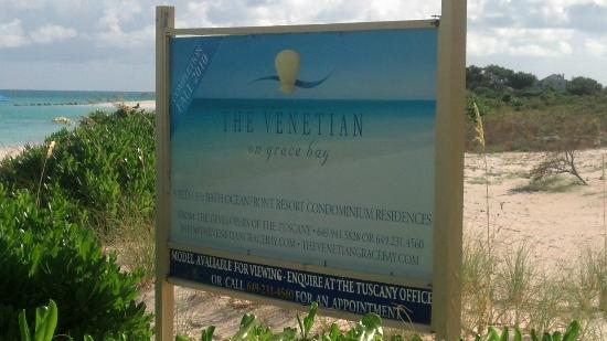 The Venetian on Grace Bay: Sign of property on the beach