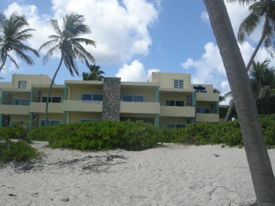 The Palms at Pelican Cove: view of hotel from beach