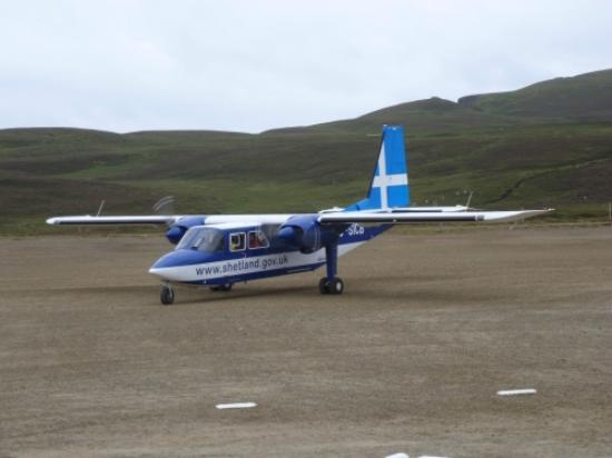 Fair Isle airstrip and its plane