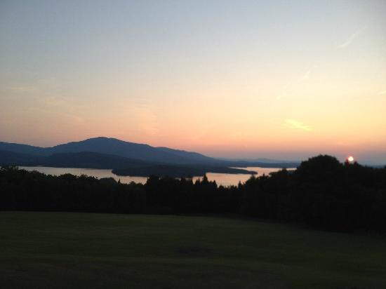 Lodge at Moosehead Lake: Moosehead lake at sunset. View from back porch of Lodge.