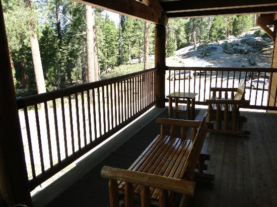 John Muir Lodge: Upstairs deck with quaint rockers