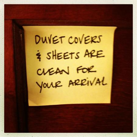 Hampton Inn Ithaca: weird note on our bed.