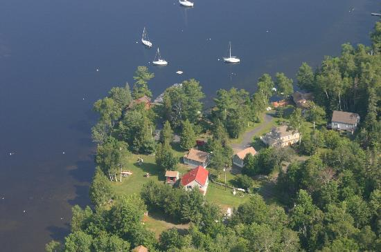 Birch Point Cabins: Arial view of owners home/cabins and neighbors