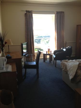 Abbey Lawn Hotel: the bedroom (sorry about our mess!)