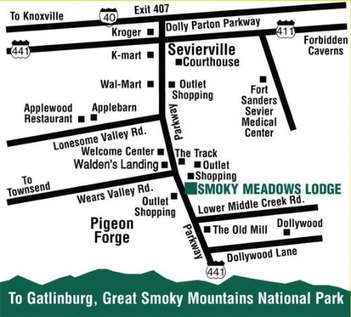 Smoky Meadows Lodge: Map