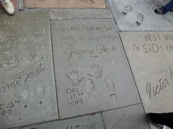 Southern California Gray Line: Gregory Peck Prints in Cement