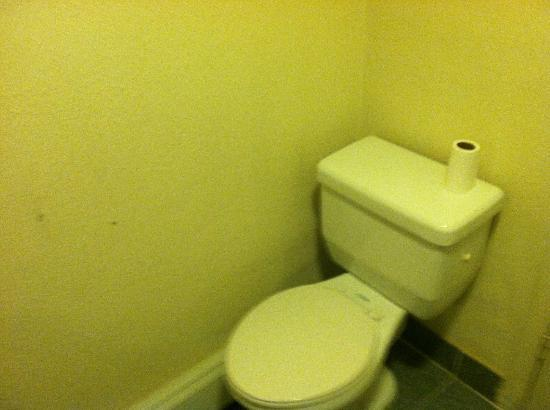 Rodeway Inn: bathroom without a toliet paper holder
