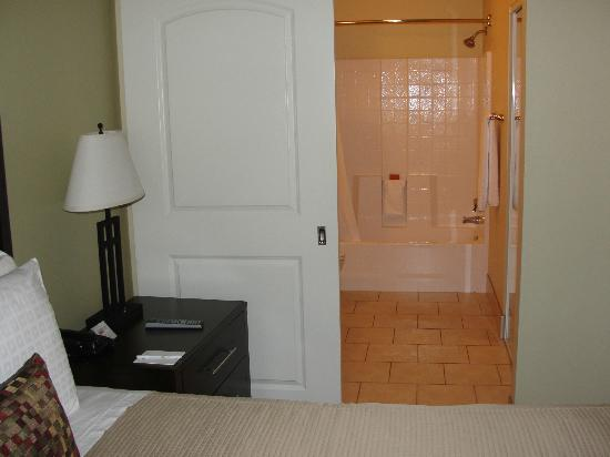 Bathroom was right off the bedroom separated by sliding