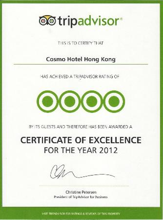 Cosmo Hotel Hong Kong: Certificate of Excellence