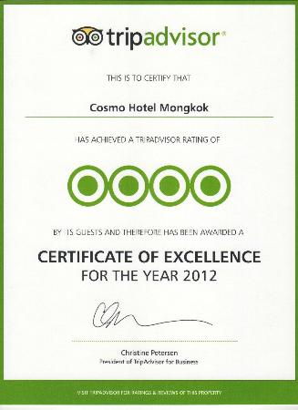 Cosmo Hotel Mongkok: Certificate of Excellence