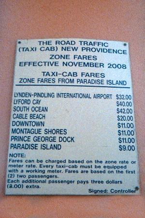 Comfort Suites Paradise Island: Taxi rates posted at hotel