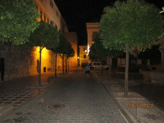 Hostal El Castillo: The square at night