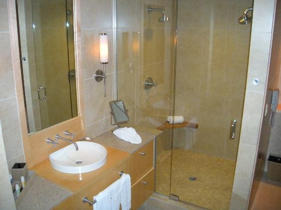 Portland Harbor Hotel: Vanity and shower