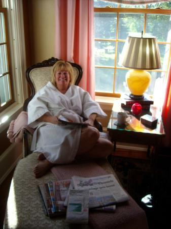 Juniper Hill Bed & Breakfast: My Queen for a Day enjoying her morning coffee