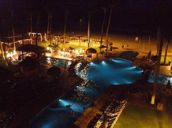 Worldmark Coral Baja: pool at night from our deck