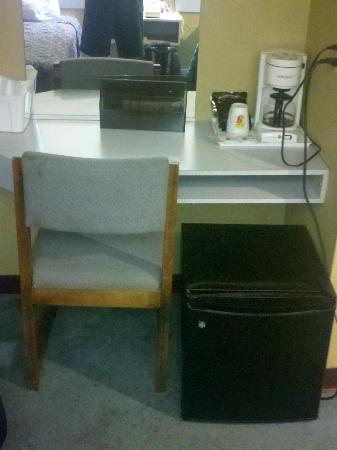 Super 8 Schenectady/Albany Area: this is the fridge/coffee/table