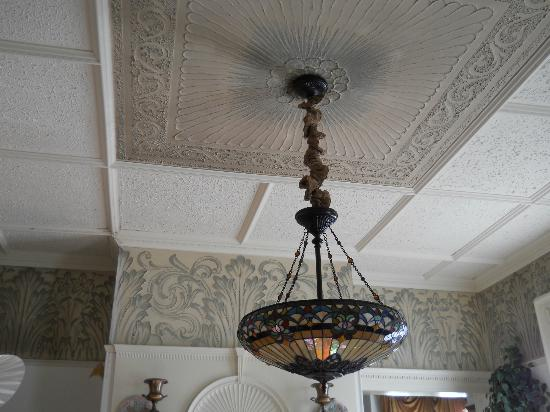 Galen C. Moses House: Original ceilings feature hand crafted , raised plaster designs still in pristine condition.