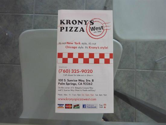 Greater Palm Springs, Californie : Krony's Pizza