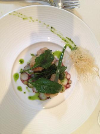Whitebrook, UK: Octopus, quail's egg and hock starter