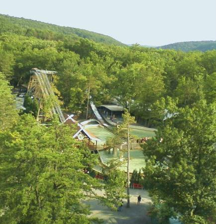 Aerial view from the Scenic Skyride of the Flume - Picture of Knoebels Amusem...