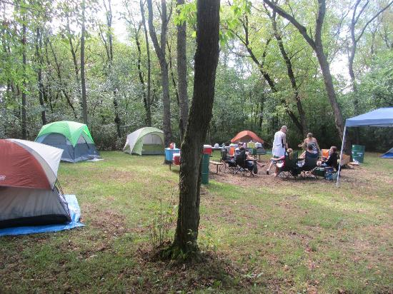 Campsite with our stuff for Devils lake state park cabins