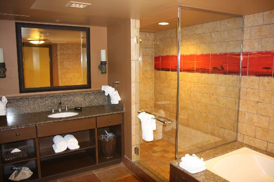 Bathroom with huge walk in shower picture of disney 39 s for Village bathroom photos