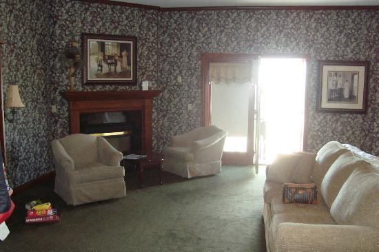 """Sugarcreek, OH: This is about 1/4 of our gigantic """"executive"""" room. The balcony is accessible from that French d"""