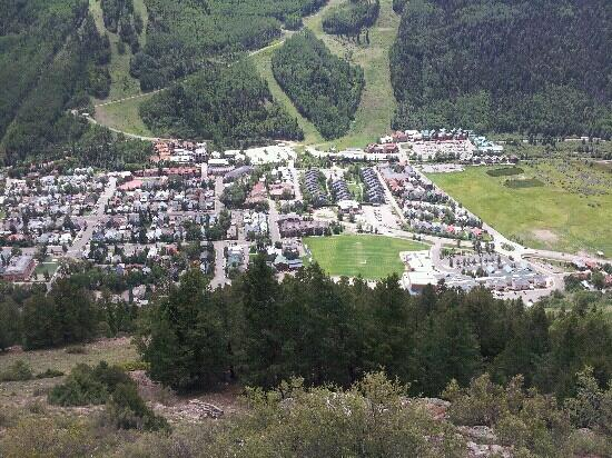 The Hotel Telluride from the Jud Wiebe trail. In the center next to the grass field.