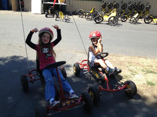 San Francisco North / Petaluma KOA: Younger Kids Riding the 4 wheel bikes