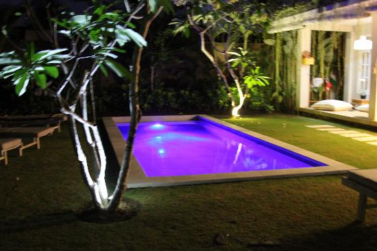   : Poolside at night