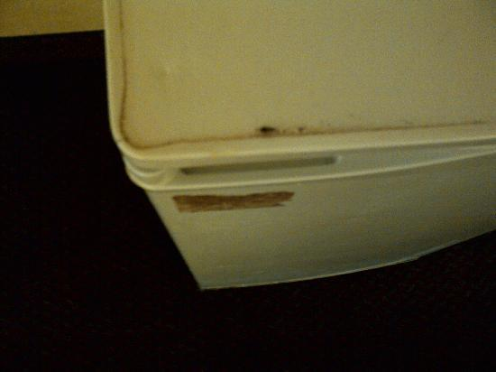Rodeway Inn Kissimmee: Top view of fridge (filthy and bugs)