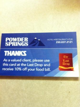Powder Springs Inn: Classy Dinner card!