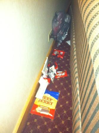 Wyndham Glenview Suites: this is what we found when we checked in behind our couch