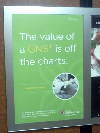 Hilton Garden Inn Omaha Downtown / Old Market Area: Sign in the Elevator | We did not get a GNS