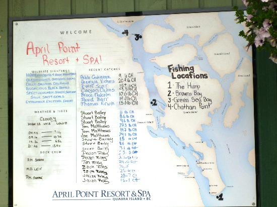 ‪‪April Point Resort & Spa‬: The I caught a fish board‬