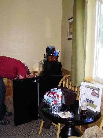 McKinley Creekside Cabins: The husband stocking our fridge with bottled waters for Denali