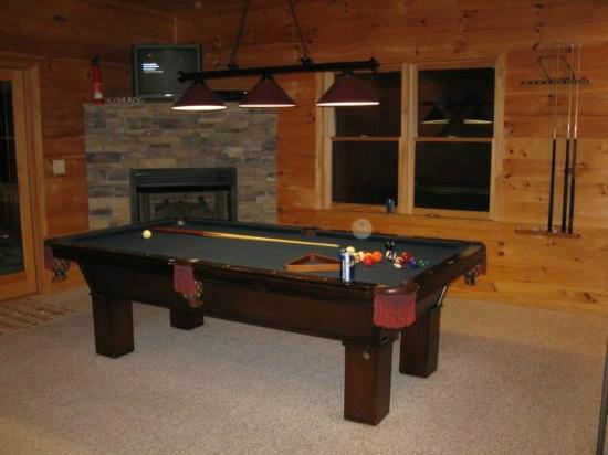 Above the Rest Cabins: Pool Table Room w/ Fireplace