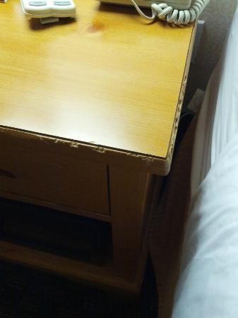Quality Inn &amp; Suites Seattle: The ratty, gnawed-looking nightstand