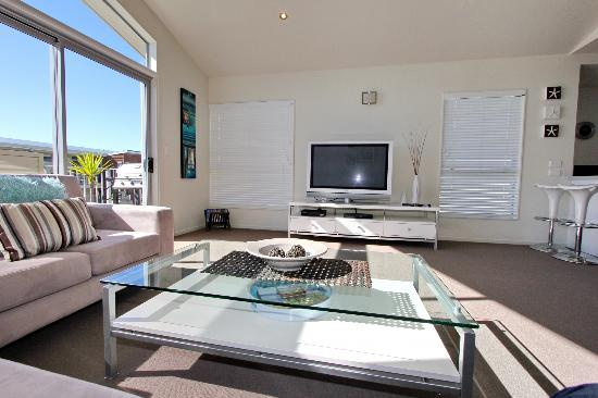 Oceans Resort Whitianga: Modern Lounge Areas - 2 Level Apartment Example
