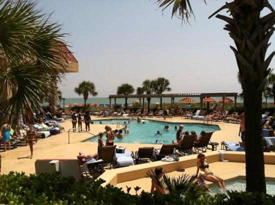 Kingston Plantation Condos by Hilton: lower pool with ocean in background.