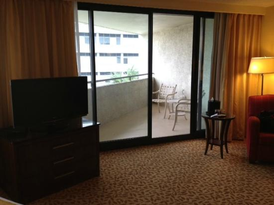 Tampa Marriott Westshore: Flatscreen TV and Balcony.  (I like lower level so the view isn't that great)