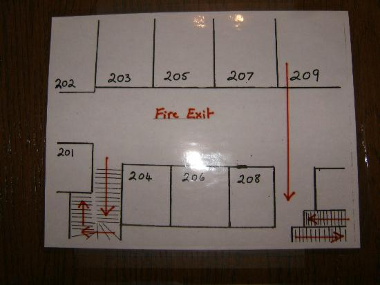 Cosmopolitan Hotel: isn't this cute?  Fire route map.