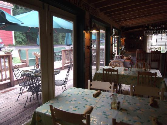 Squam Lake Inn: View of dining deck from dining porch